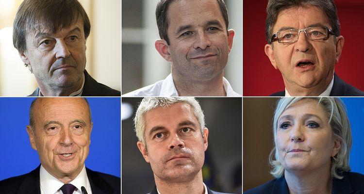 Nicolas Hulot, Benoît Hamon, Jean-Luc Mélenchon, Alain Juppé, Laurent Wauquiez et Marine Le Pen.