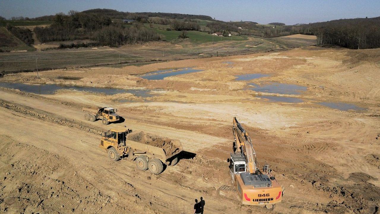 Vue aérienne du chantier du barrage du lac de Caussade en février2019