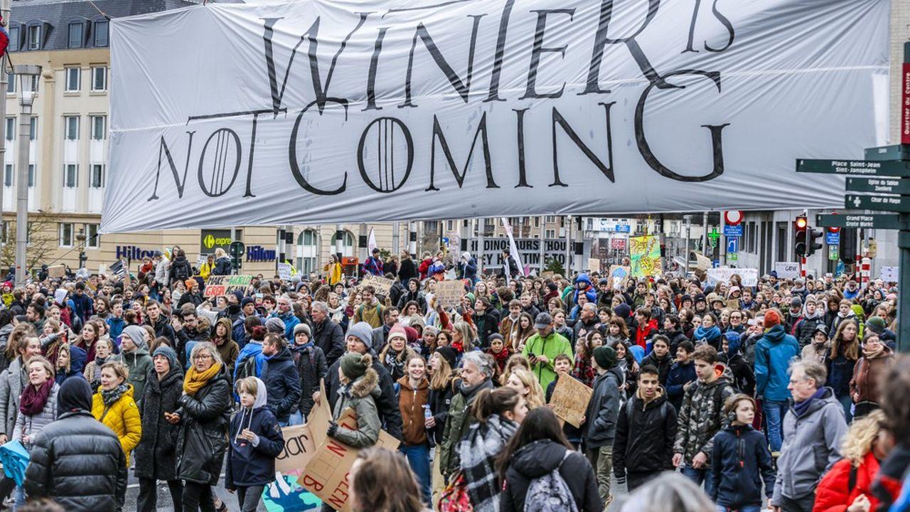 Une manifestation organisée en mars à Bruxelles, à l'initiative de l'activiste écologiste Greta Thunberg .