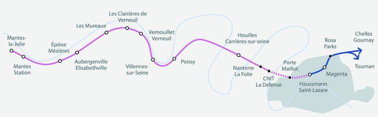 A terme, la ligne E du RER, prolongée jusqu'à Mantes-la-Jolie, sera longue de 111km.
