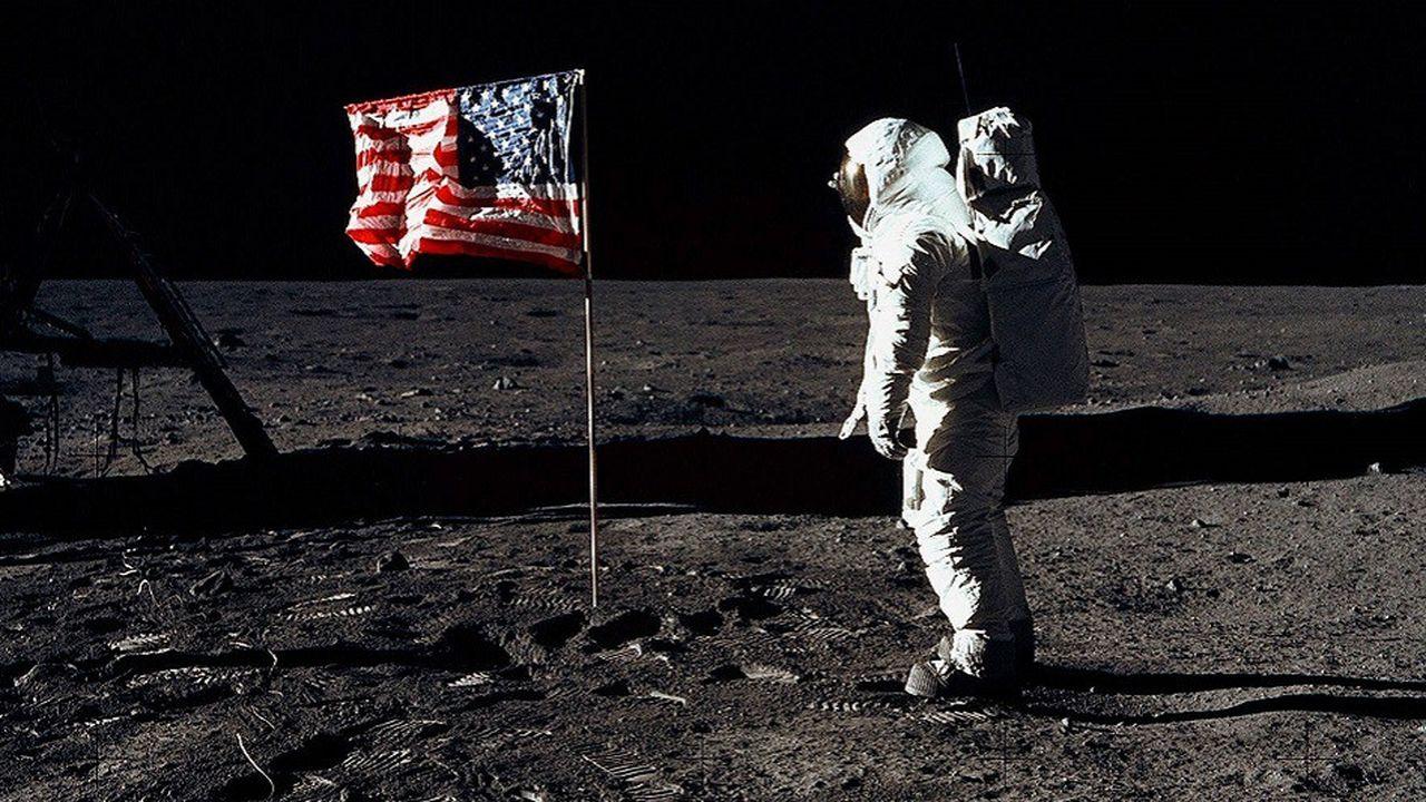 Buzz Aldrin fait ses premiers pas sur la Lune lors de la missionApollo 11, le 20juillet 1969.
