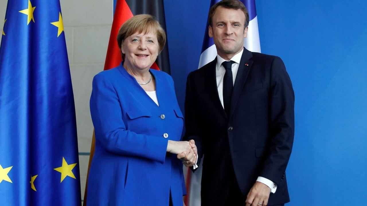 Angela Merkel et Emmanuel Macron, le 29avril, lors d'une conférence de presse à Berlin avant un sommet sur les Balkans.