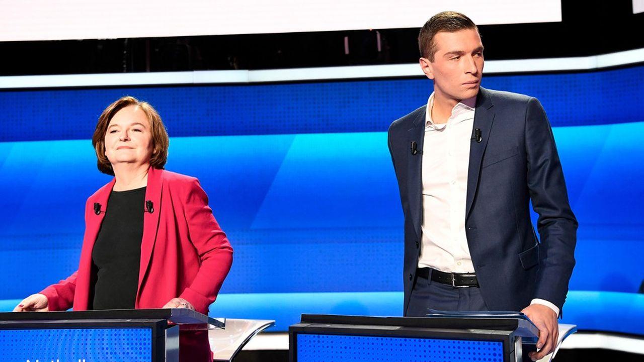 Nathalie Loiseau et Jordan Bardella, lors du débat entre les principales têtes de listes, en avril sur France 2.