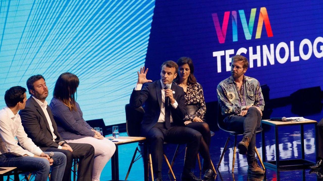 Durant une heure d'échanges avec cinq entrepreneurs de la tech au salon VivaTech, Emmanuel Macron a défendu le modèle européen de« tech démocratique ».