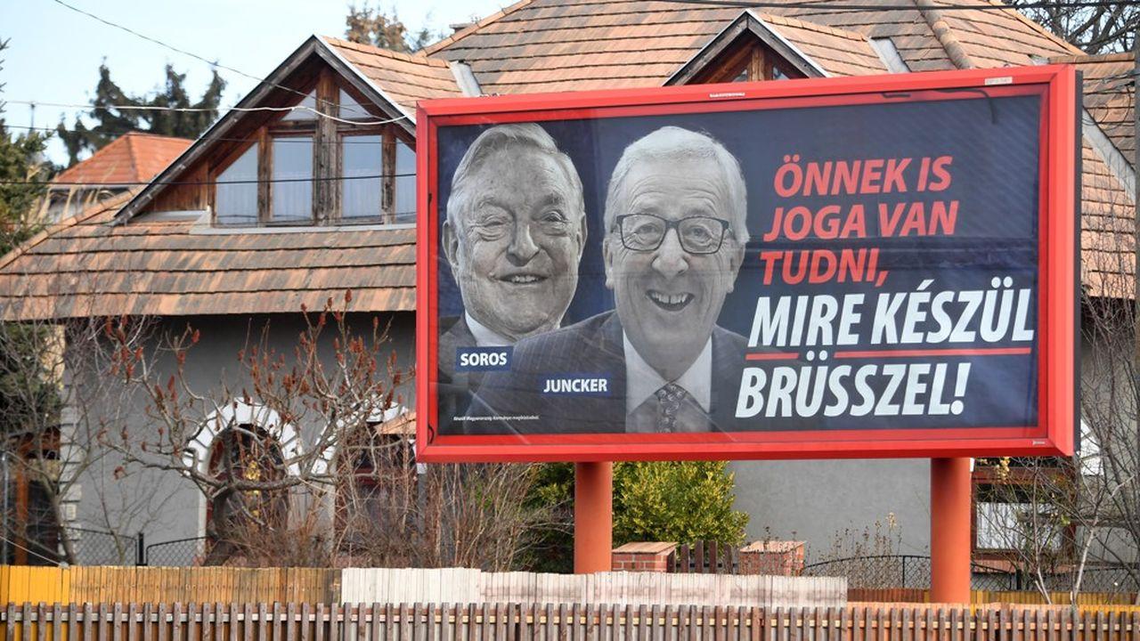 En Hongrie, le gouvernement de Viktor Orban a lancé en février2019 une campagne d'affichage contre George Soros et Jean-Claude Junker.