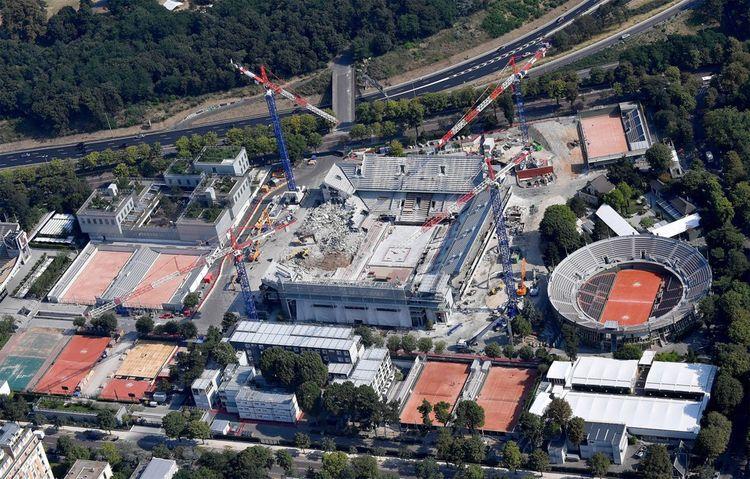 Vue aérienne du chantier de Roland-Garros en juillet2018.