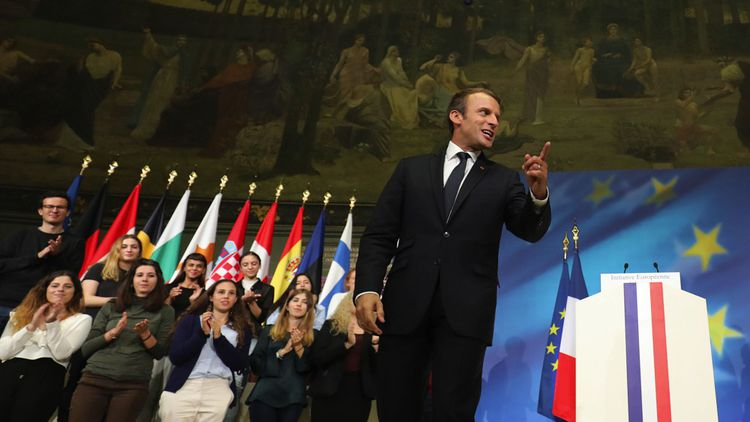 Le 26septembre 2017, Emmanuel Macron fait ses propositions pour relancer l'Europe à la Sorbonne