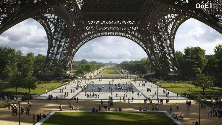 Le parvis de la Tour sera traversé par ce nouveau parc arboré mais néanmoins coupé par la muraille de verre érigé depuis l'an dernier contre les risques terroristes.