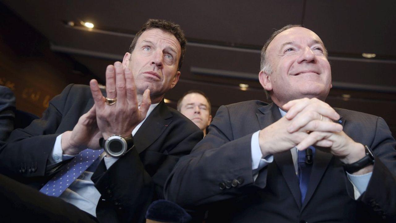 Geoffroy Roux de Bézieux, président du Medef (à gauche), et Pierre Gattaz, président de BusinessEurope (à droite).
