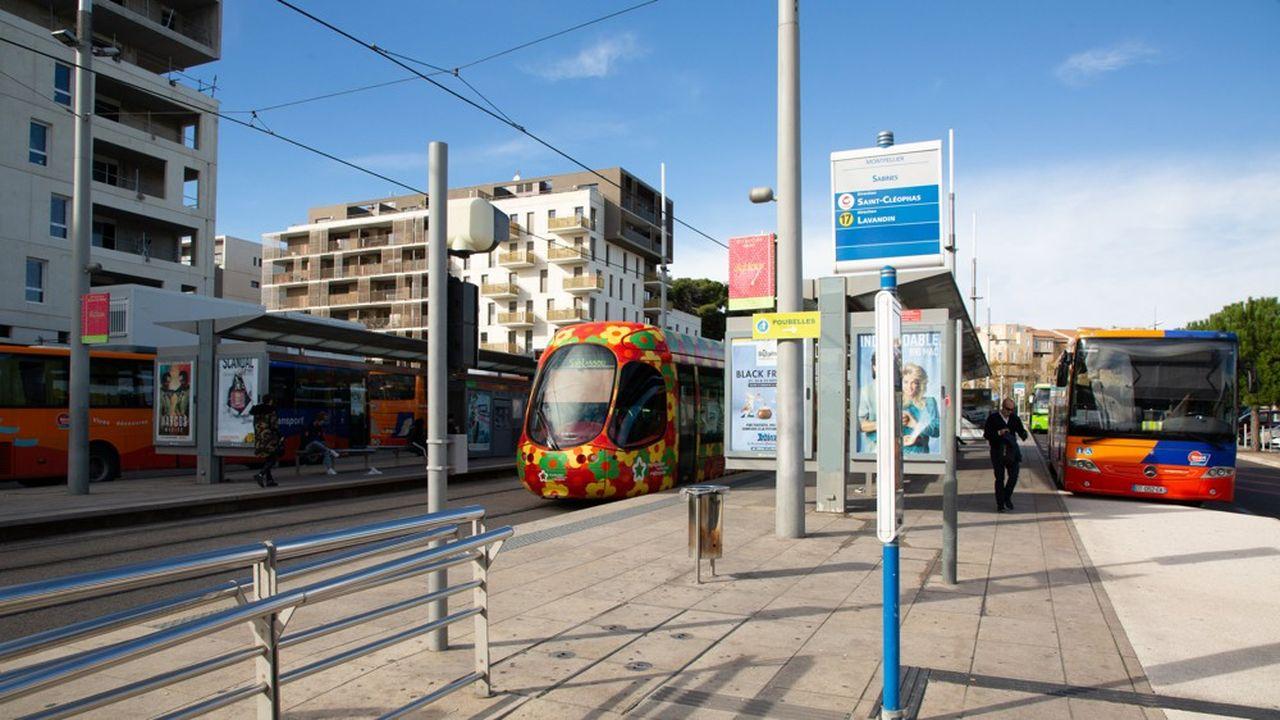 Un tramway à Montpellier (Hérault).