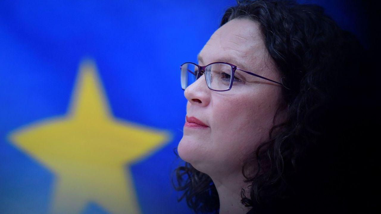 Andrea Nahles, à la fois présidente et cheffe du groupe parlementaire du parti social-démocrate allemand (SPD) est affaiblie après la déroute électorale de la formation.
