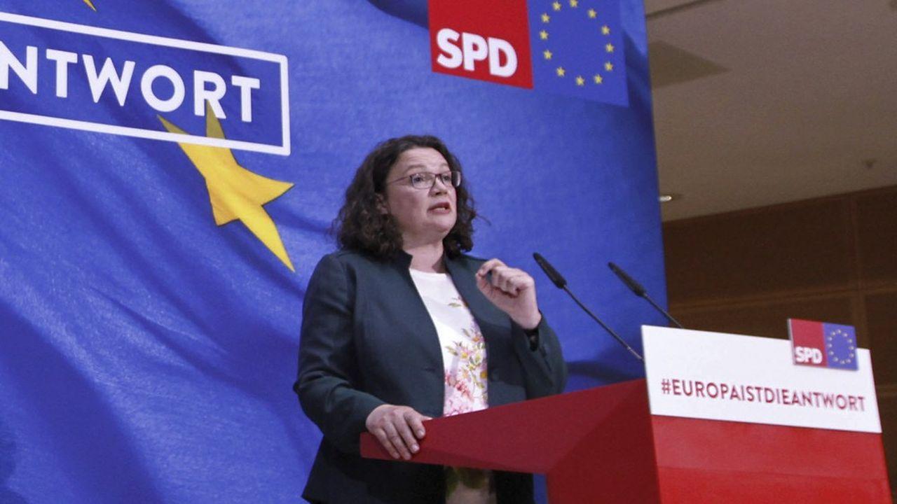 «La discussion au sein du groupe parlementaire et les nombreuses réactions du parti m'ont montré que le soutien nécessaire à l'exercice de mes fonctions n'existe plus», a écrit Andrea Nahles ce dimanche aux membres du SPD.
