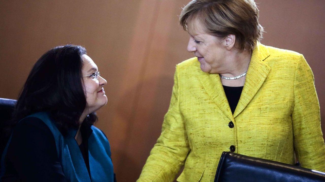 Le départ d'Andrea Nahles, principal soutien au sein des sociaux-démocrates à leur participation au gouvernement d'Angela Merkel aux côtés des conservateurs de l'union CDU-CSU, alimente le scénario d'une fin prochaine de cet attelage qui ne réussit à aucune des deux parties.