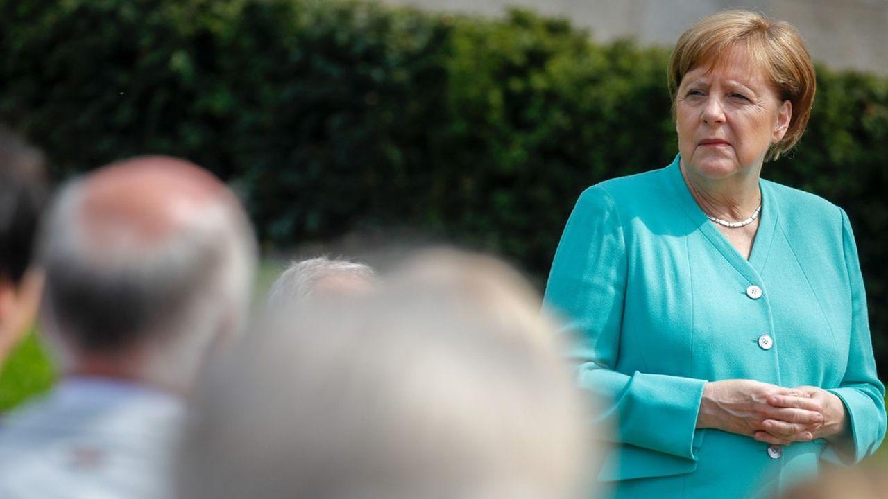 La chancelière allemande Angela Merkel lors de la célébration du 70eanniversaire de la Constitution allemande dans le jardin du château de Bellevue, le 23mai 2019.