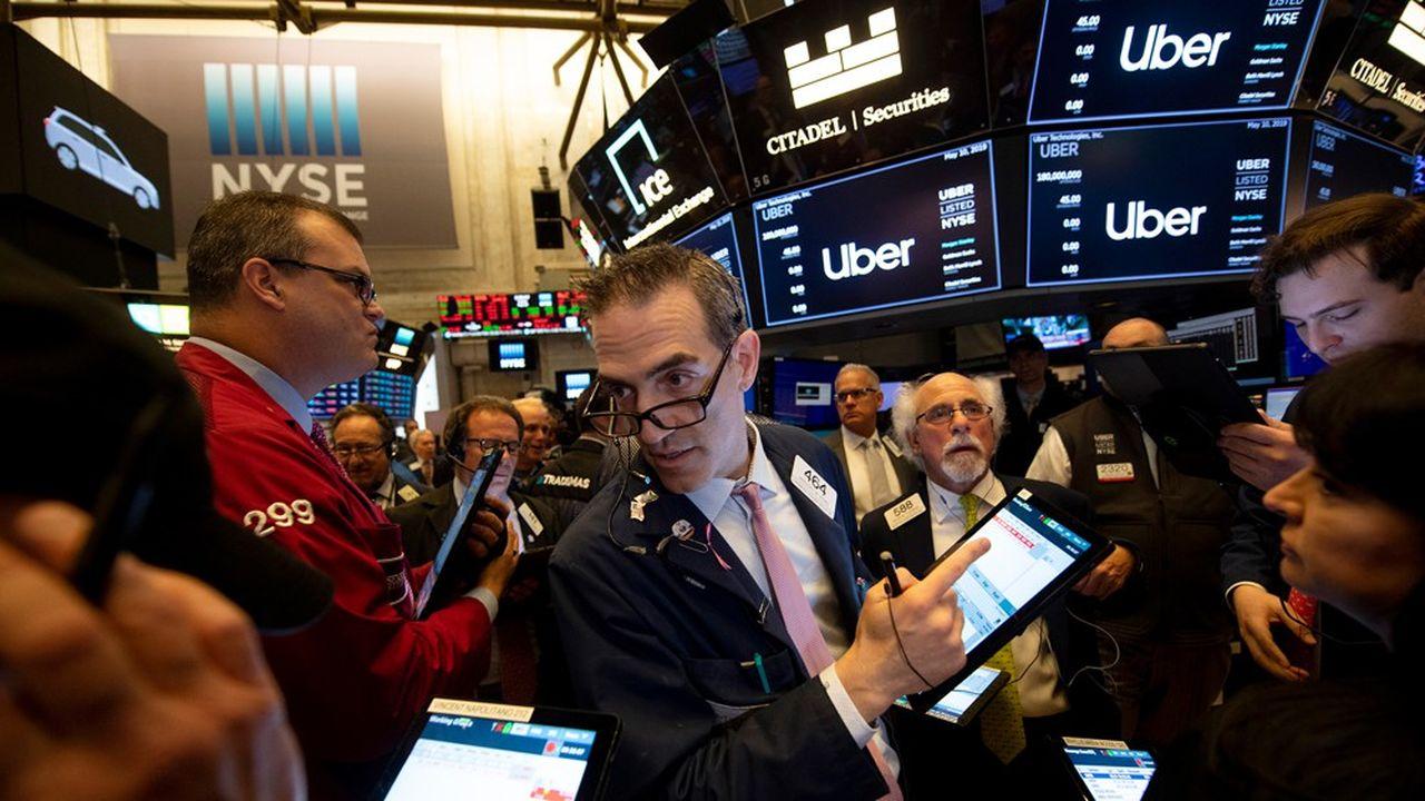 La première cotation d'Uber à Wall Street, le 10mai dernier.