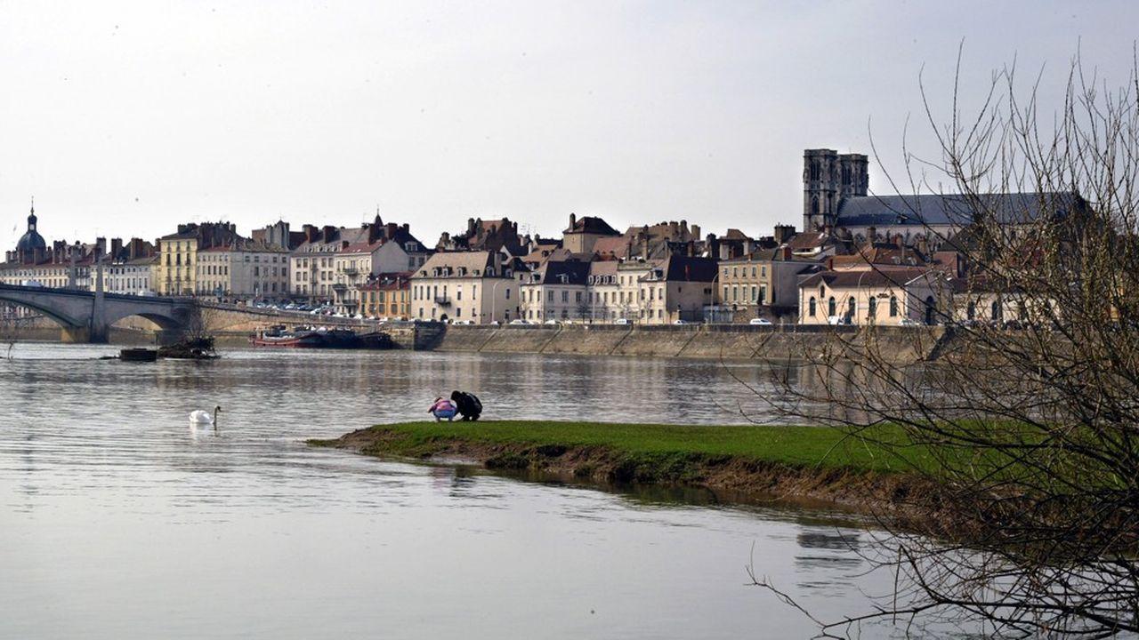Une vue partielle de la ville de Chalon-sur-Saône.