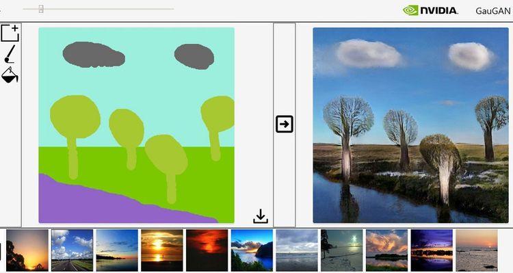 Pour ce dessin, il était demandé à l'ordinateur d'avoir en bas à gauche une rivière et en bas à droite un paysage de bush, avec quelques arbres.