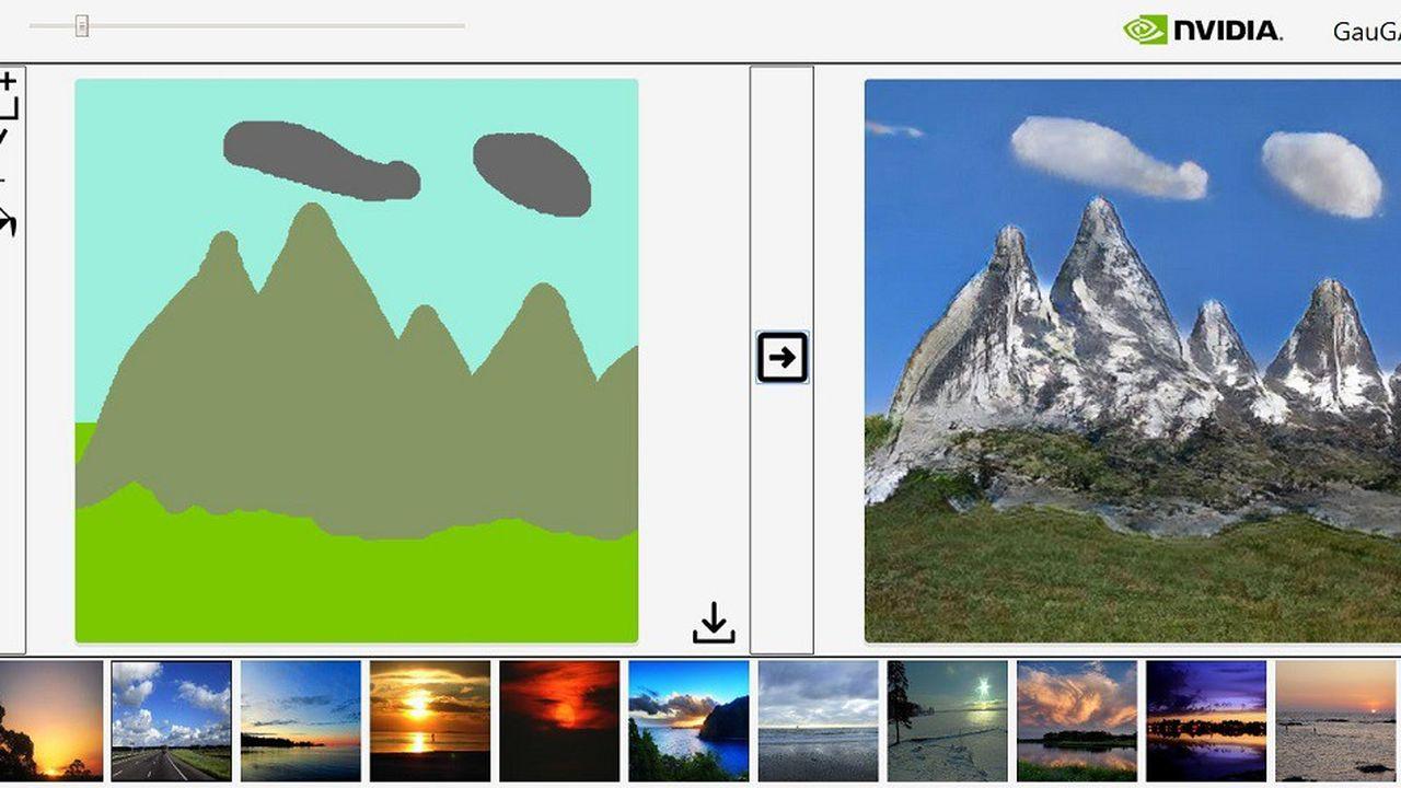 Pour utiliser GauGAN, il faut définir des zones (montagne, herbe, ciel, nuage,etc.) que l'ordinateur se charge de remplir avec des détails. Il est possible aussi de choisir un filtre pour la lumière.