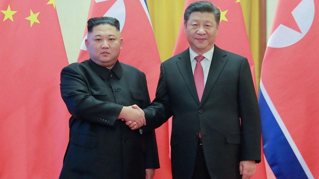 Kim Jong-un et Xi Jinping à Pékin, le 8janvier 2019.