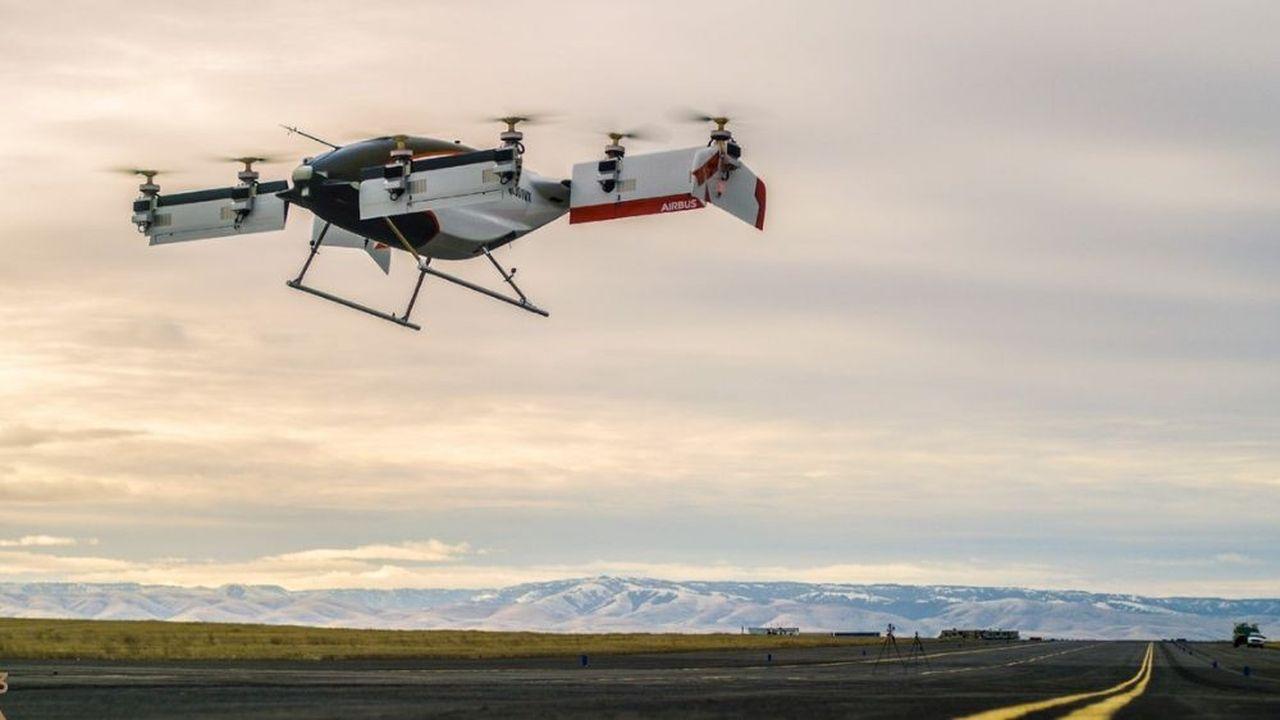 Vahana, le drone-taxi d'Airbus, a réussi son premier test le 31janvier 2018 à Pendleton (Oregon).