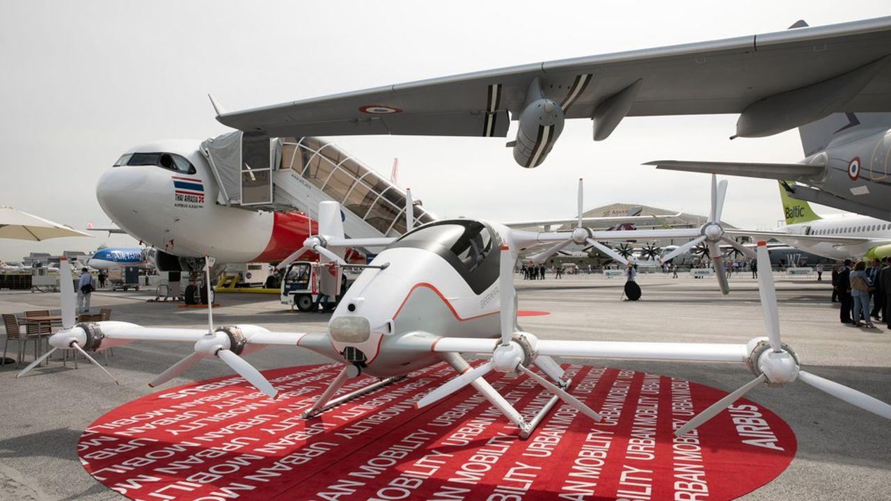Présentation de l'avion autonome Vahana d'Airbus au 53eSalon international de l'aéronautique et de l'espace.