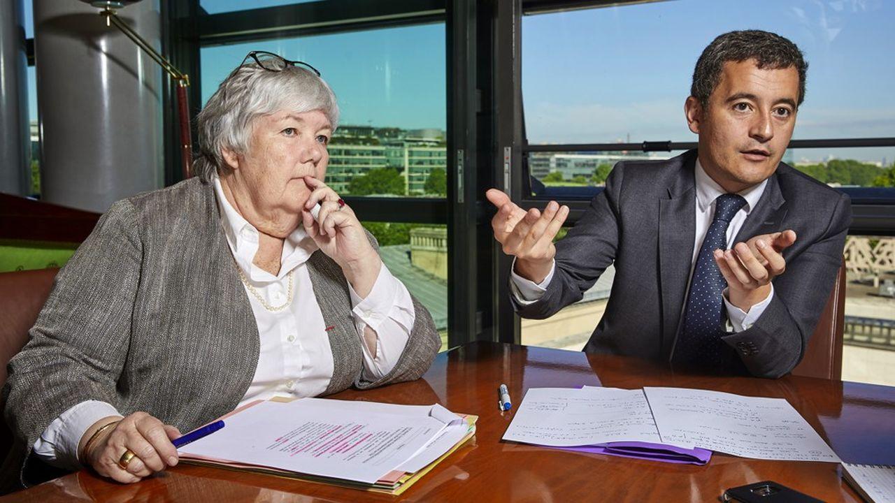 Jacqueline Gourault, ministre de la Cohésion des territoires et des Relations avec les collectivités territoriales, et Gérald Darmanin, ministre de l'Action et des Comptes publics à Bercy.