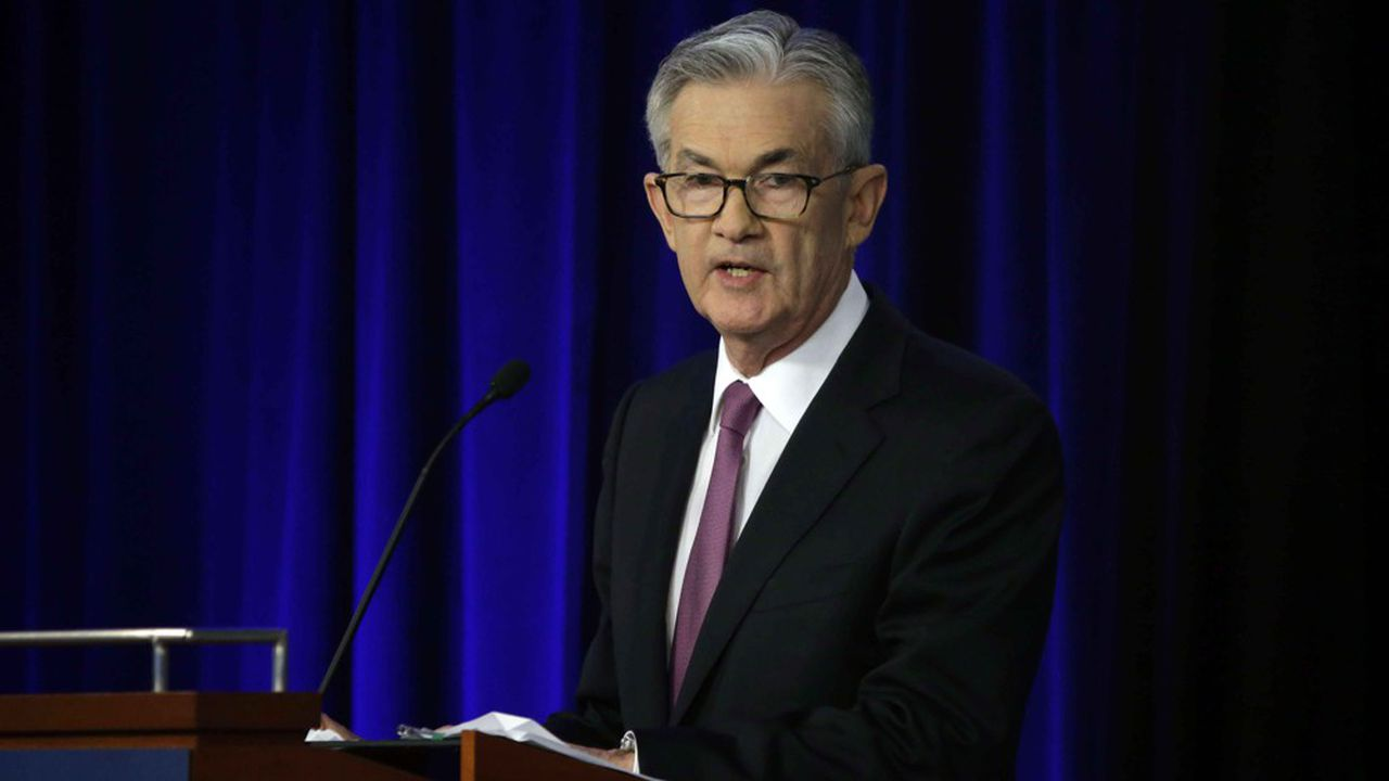 Federal Reserve Chairman Jerome Powell speaks at a conference involving its review of its interest-rate policy strategy and communications, Tuesday, June 4, 2019, in Chicago. (AP Photo/Kiichiro Sato)/F/19155671986843/1906042049