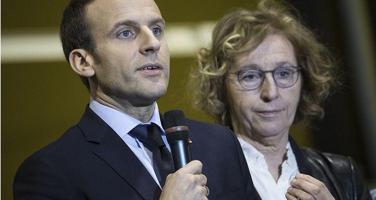 Emmanuel Macron et Muriel Penicaud durant la visite d'un CFA à Tours le 14 mars dernier