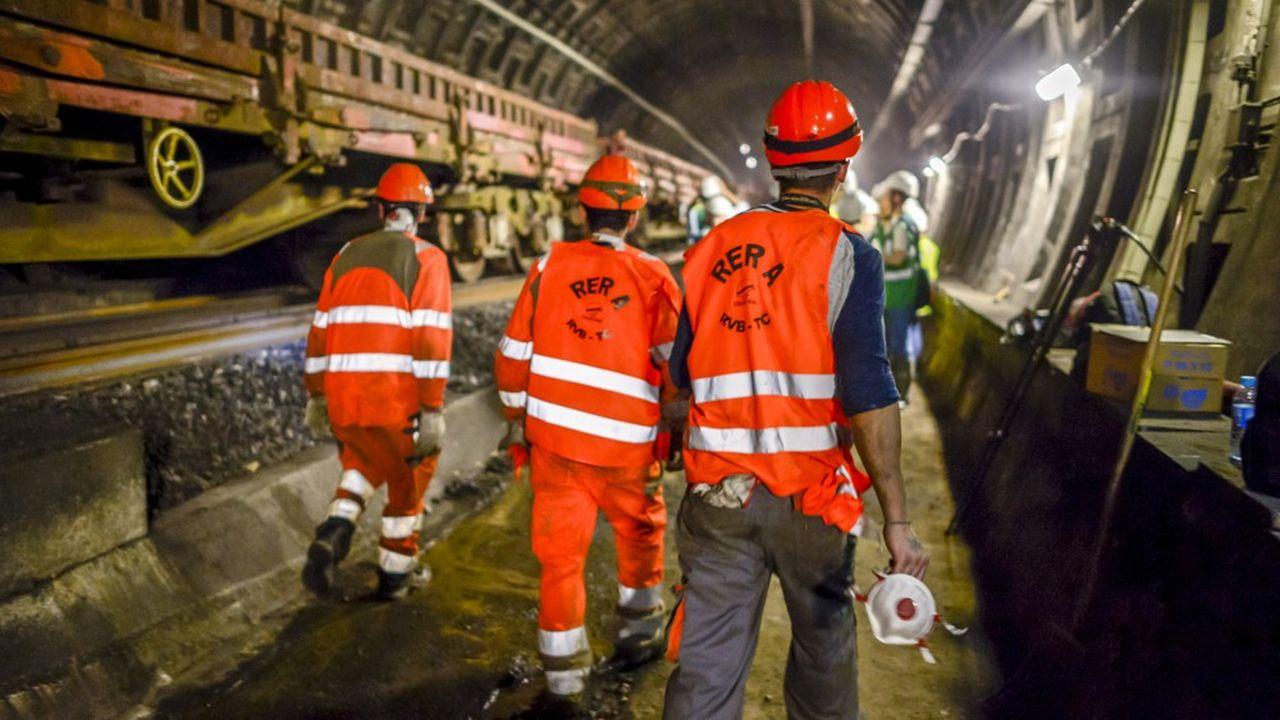 Sur le chantier du RER A l'été dernier.