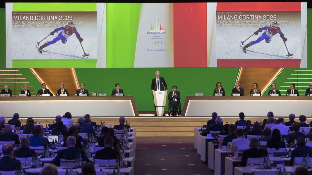 Le Comité international olympique (CIO), réuni en session à Lausanne, a voté en faveur de la candidature de Milan et Cortina d'Ampezzo par 47 voix, contre 34 pour celle de Stockholm/Are.