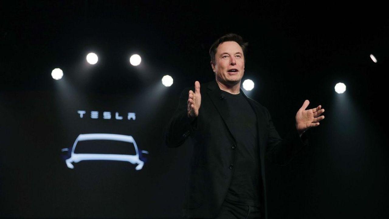 Elon Musk le 14mars dernier lors de la présentation de la Tesla Model Y à Hawthorne (Californie). Pour lespour les modèles 3, S et X, la logistique reste le principal défi du constructeur.
