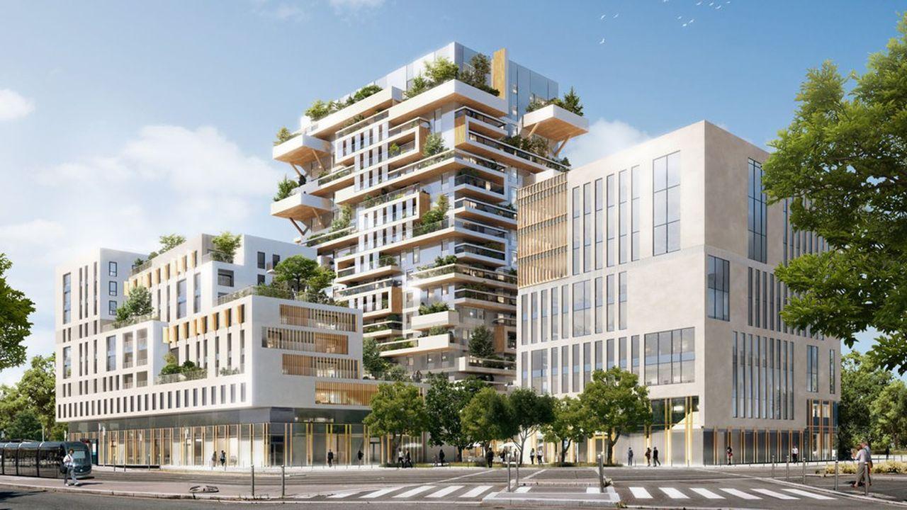 A Bordeaux, les travaux de la tour Hyperion (98 logements, 18 étages et 58 mètres de haut) ont démarré début 2019 et l'élévation bois commencera cet automne pour une livraison prévue au deuxième trimestre 2021. La fédération des promoteurs immobiliers vient d'attribuer sa «pyramide d'or» du projet de l'année à cette tour d'Eiffage.