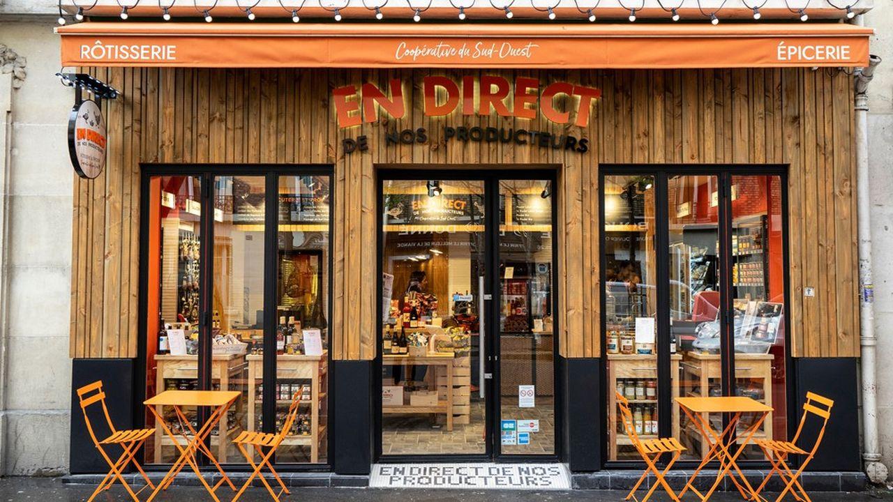 Nouveau concept de «rôtisserie & épicerie» développé par Maïsadour, En Direct de Nos Producteurs a été créé pour vendre à prix «attractifs» les marques phares du groupe.