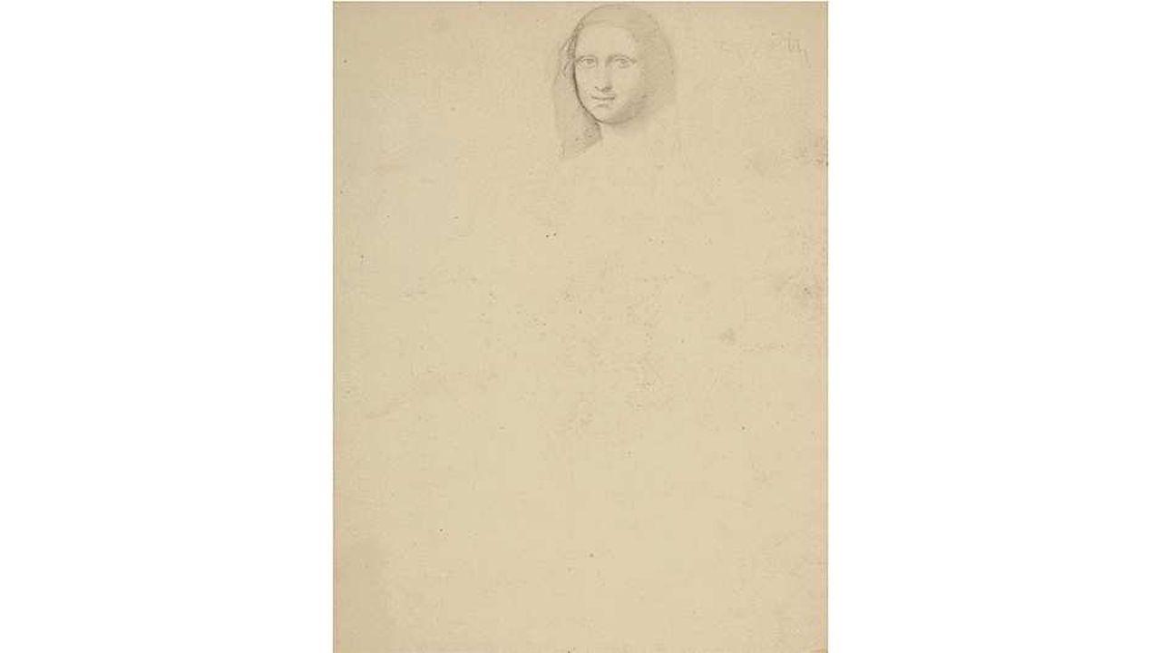 Études d'après Léonard de Vinci, détail de «Saint Jean Baptiste» et Étude d'après un maître ancien avec le cachet 'ATELIER ED. DEGAS' (au revers; Lugt 657), graphite sur papier fort teinté, 24.4 x 31 cm. Exécuté vers 1853-54