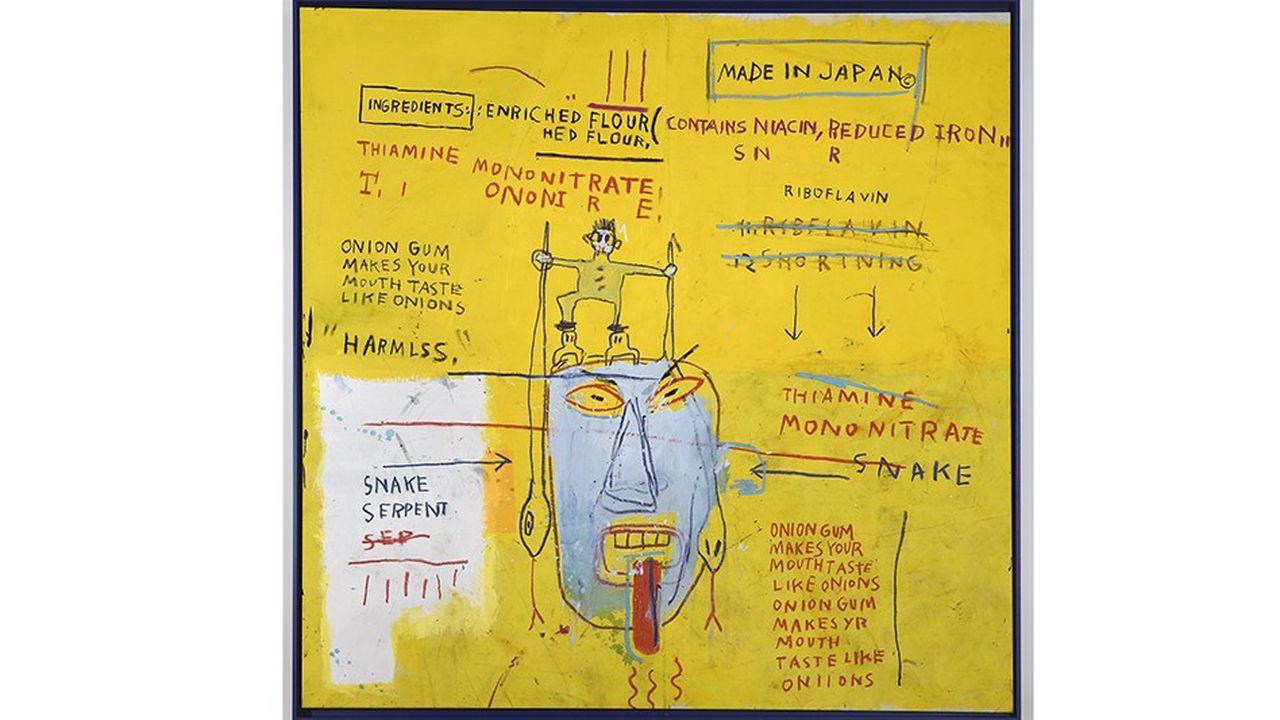 Jean-Michel Basquiat JB 16.1300 Onion Gum 1983 78 x 80 inches (198 x 203 cm) Acrylic and oilstick on canvas.