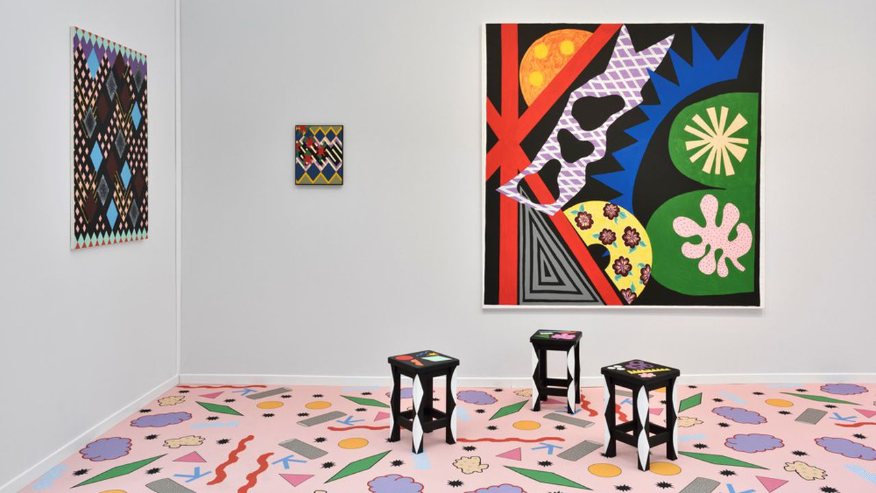 Le stand de la Galerie Thomas Bernard à Art Paris. Karina Bisch. «Les Tableaux vivants».