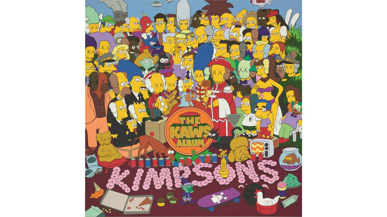 The Kaws Album signed, titled and dated 05 on the reverse acrylic on canvas 101,6 x 101, 6 cm ; Vendu : 115.966.000 HKD