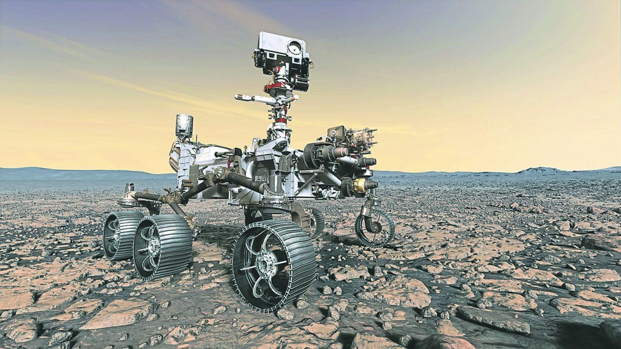 Mars 2020, le plus gros rover (plus d'une tonne) jamais construit par la Nasa pour arpenter la surface de Mars, et sa caméra-laser SuperCam perchée en haut du mât.