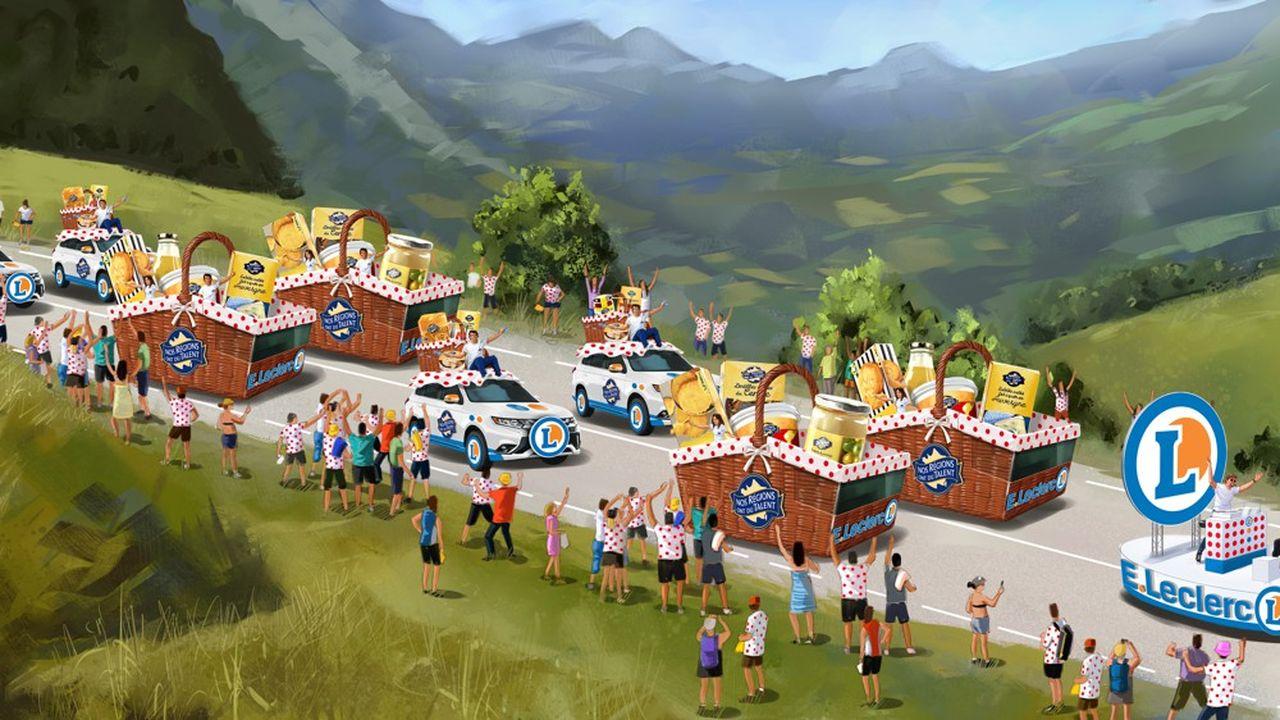 Une simulation des véhicules que Leclerc fera rouler dans la caravane publicitaire du Tour de France.