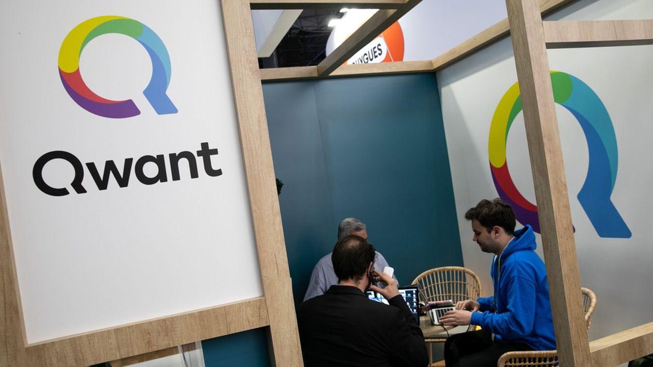 Stand du moteur de recherche Francais Qwant a salon Viva Technology.