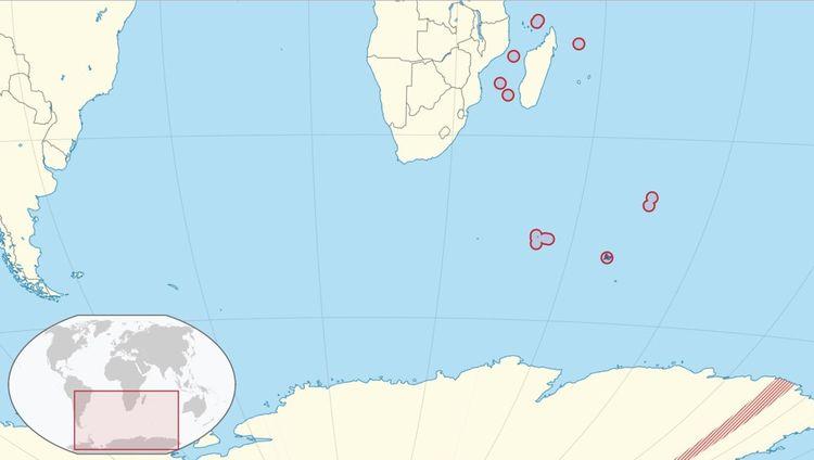 Terres australes et antarctiques françaises comprenantl'archipel Crozet, les îles Kerguelen, les îles Eparses de l'océan Indien, les îles Saint-Paul et Nouvelle-Amsterdam et la Terre-Adélie.