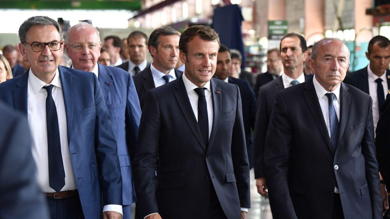 Emmanuel Macron avec Gérard Collomb (à droite sur la photo) et David Kimelfeld (à gauche).