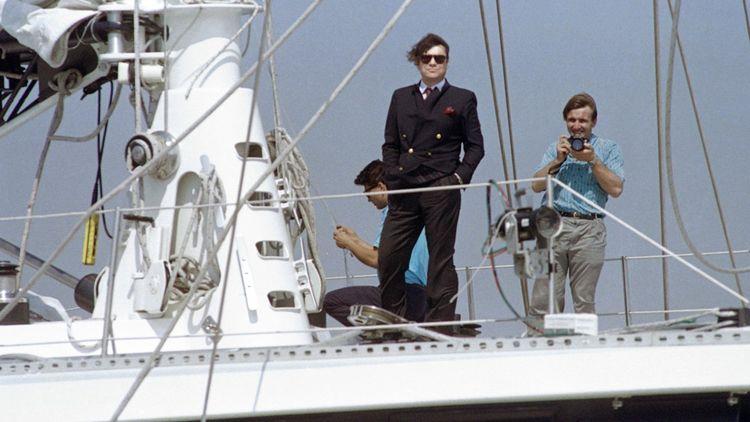 Bernard Tapie en 1988 à bord du «Phocea».