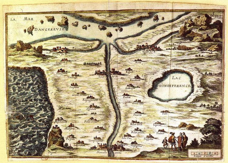 Carte du Royaume de Tendre, par Madeleine de Scudéry