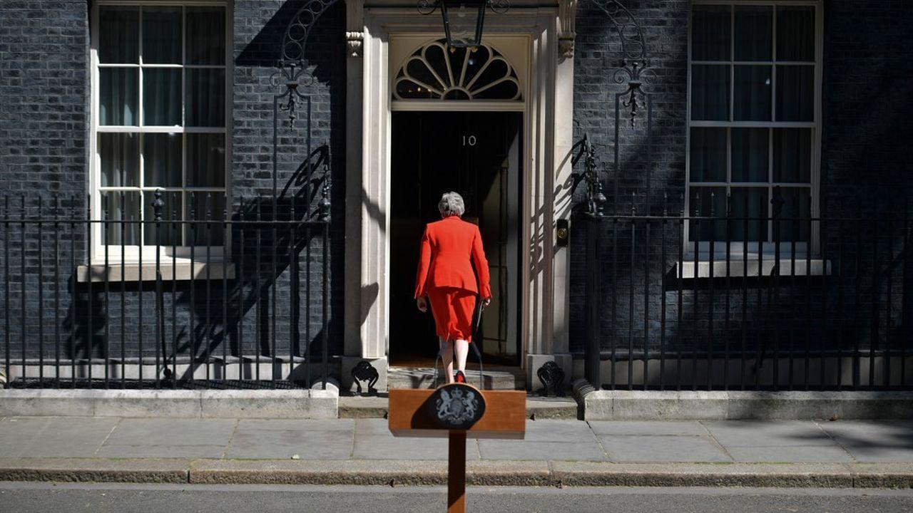 La Premiere ministre Britannique Theresa May, au 10Downing Street à Londres, après l'annonce de sa démission.