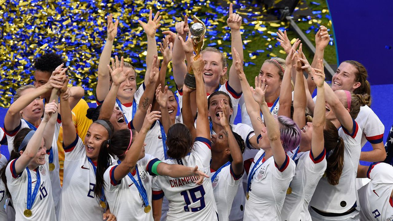 Les footballeuses américaines lors de leur victoire pour la Coupe du monde 2019,le 7juillet, au Parc Olympique lyonnais