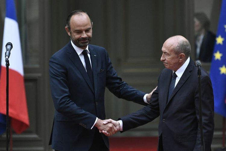 Edouard Philippe et Gérard Collomb lors de la passation de pouvoir du second au premier au ministère de l'Intérieur, en octobre2018
