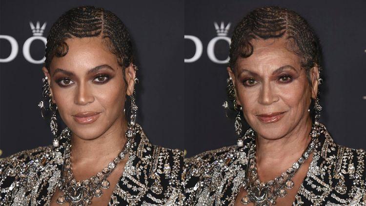 Une photo avec la chanteuse Beyoncé traitée par l'application FaceApp.