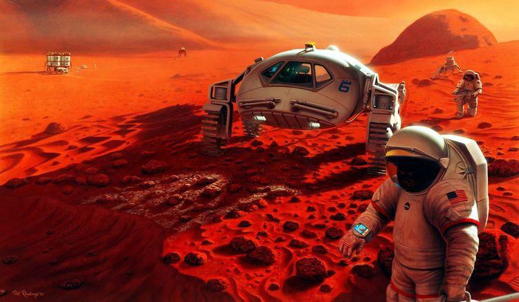 Vue d'artiste d'une mission habitée sur Mars.