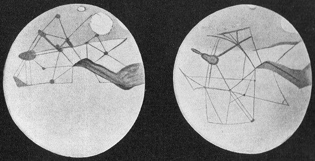 Les canaux de Mars par Percival Lowell avec des lacs et oasis à leur intersection (vers 1905).